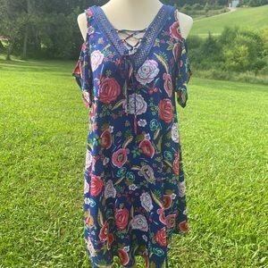 Jodi Kristopher Blue Floral Cold Shoulder Dress S
